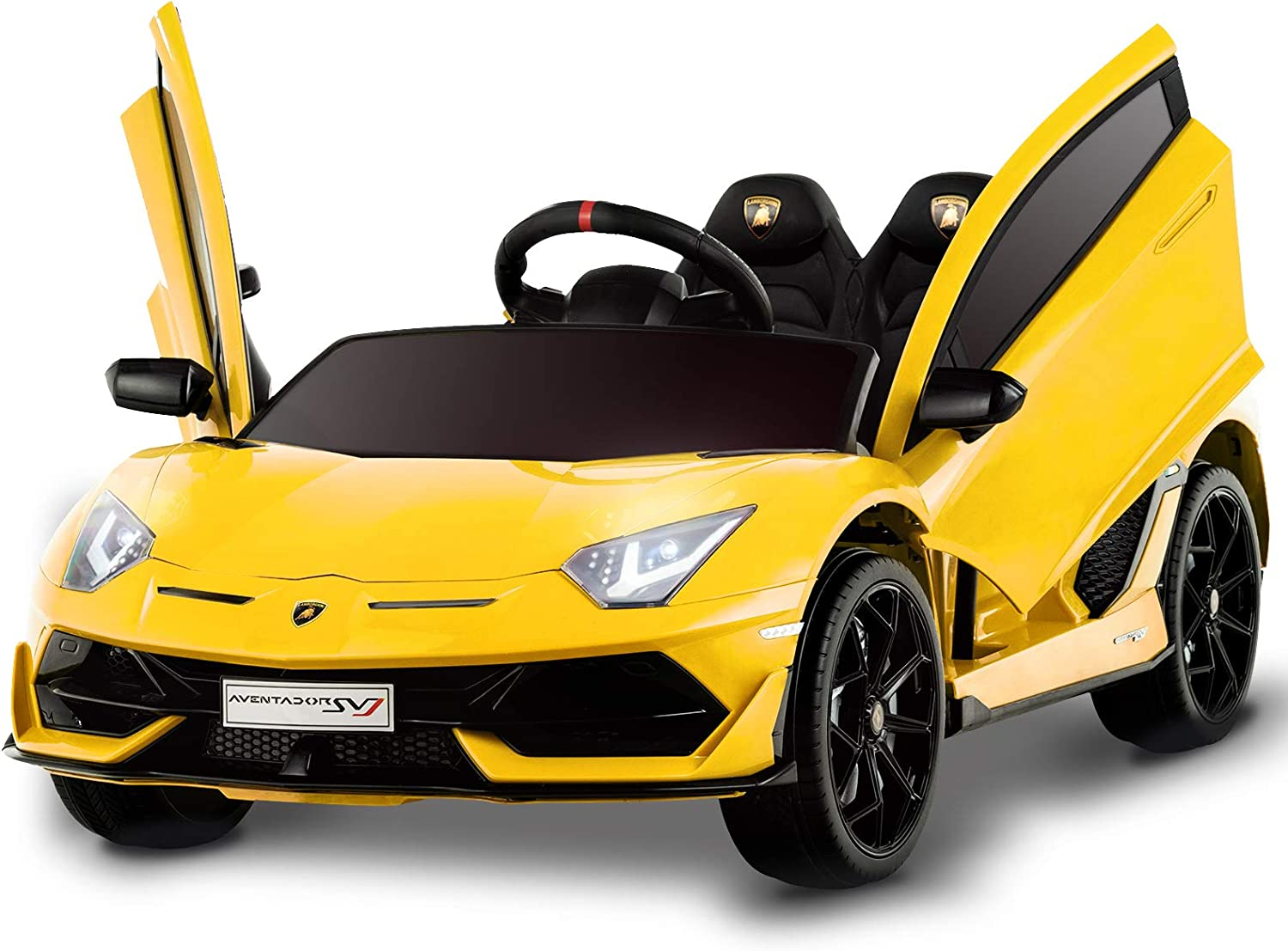 Sounds Best Choice Products Kids 12V Ride On Lamborghini Aventador SV Sports Car Toy w// Parent Control AUX Cable 2 Speeds LED Lights Red