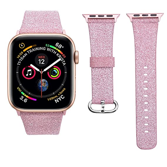 cf4a735f5 iiteeology Compatible with Apple Watch Band Women Girls, Genuine Leather  Sparkly Bling Glitter iWatch Band