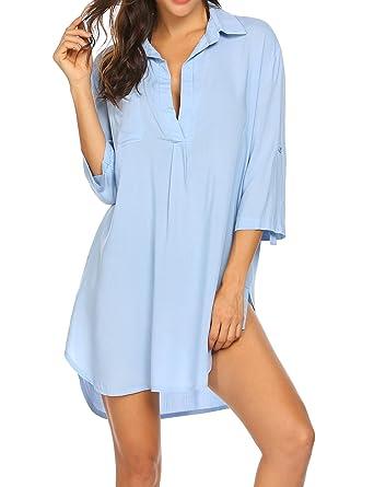 61c7548333 TelDen Women's Boyfriend Beach Shirt V-Neck Sexy Bikini Shirt  Dress/Swimsuit Cover up