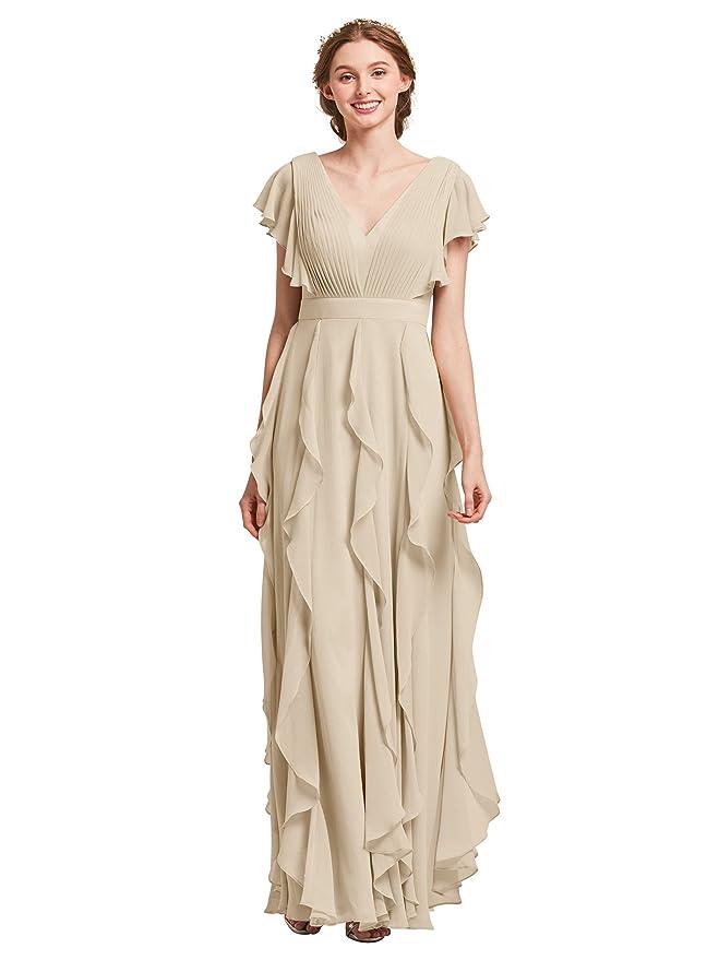 Review AWEI Women's Long Bridesmaid Dresses - Chiffon Evening Dress V-Neck Party Prom Dress for Wedding
