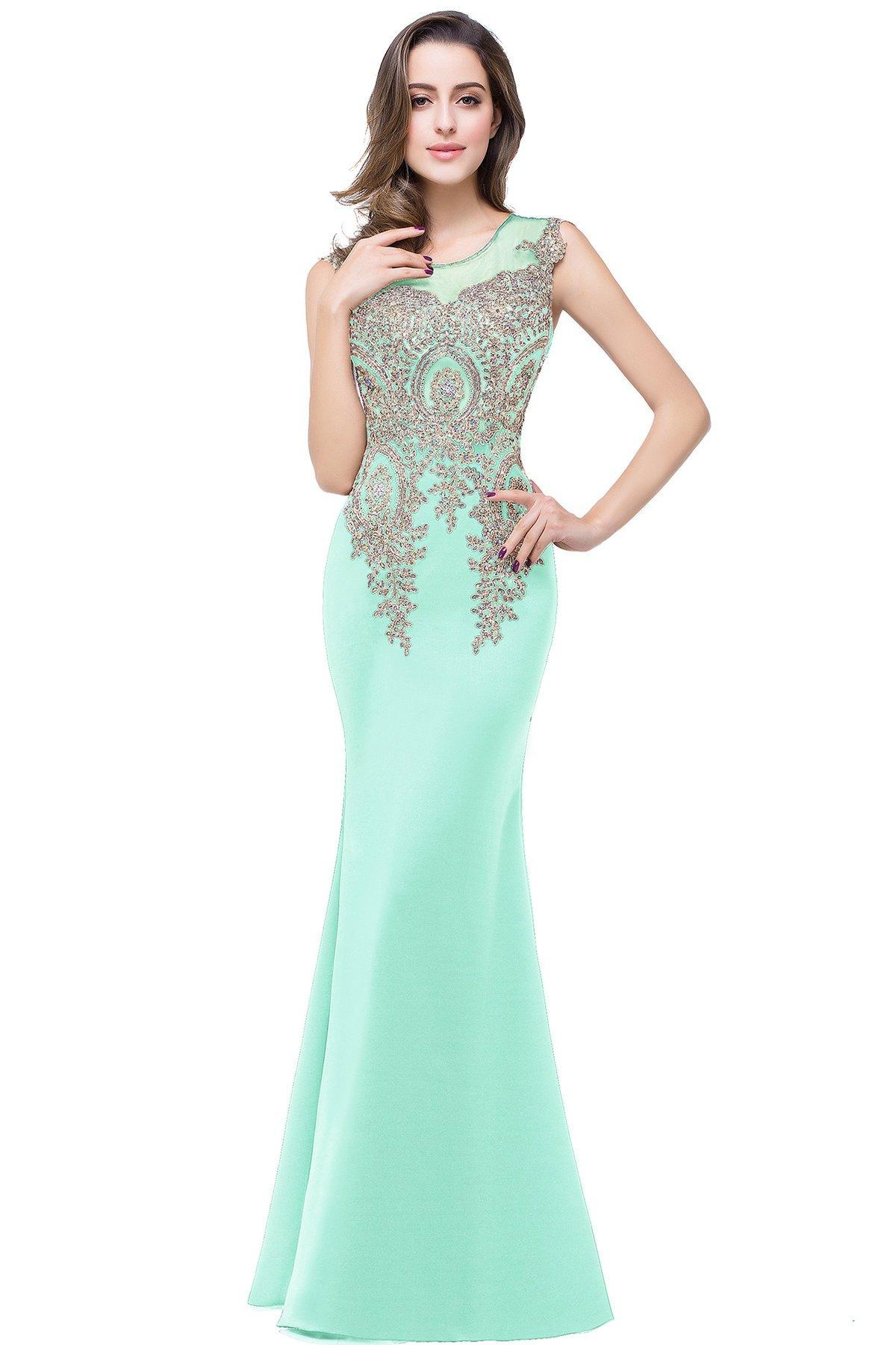 MisShow Womens Rhinestone Long Lace Formal Mermaid Evening Prom Dresses
