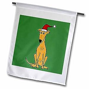 3dRose fl_200596_1 Funny Greyhound Puppy Dog in Santa Hat Christmas Art Garden Flag, 12 by 18-Inch