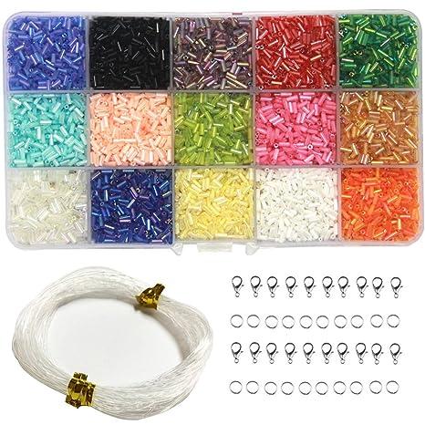45ba84d01310 Ewparts 3MM DIY Beads Sets, 15 colores Lustre Mini Beads para DIY ...