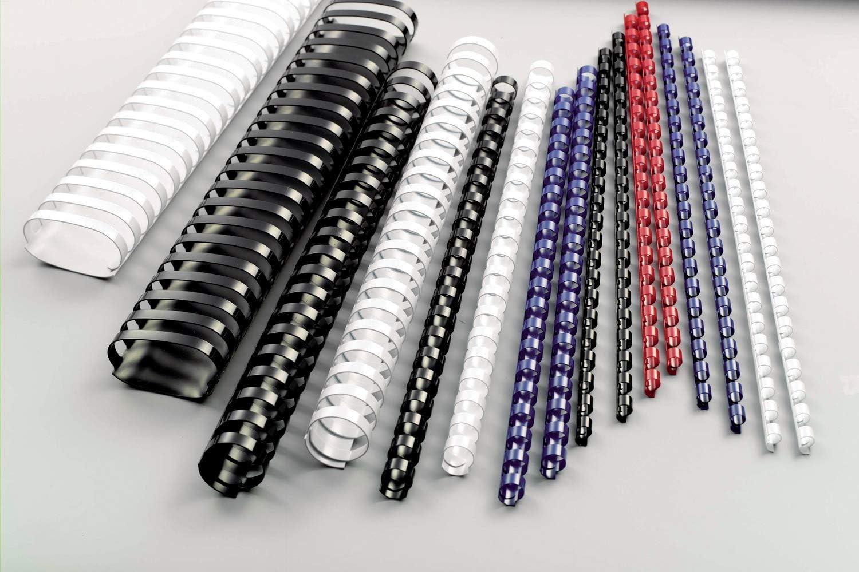 Nero 21 Anelli 100 Pezzi GBC BX211610 Spirali in Plastica per Rilegatura a Macchina 16 mm Formato A4