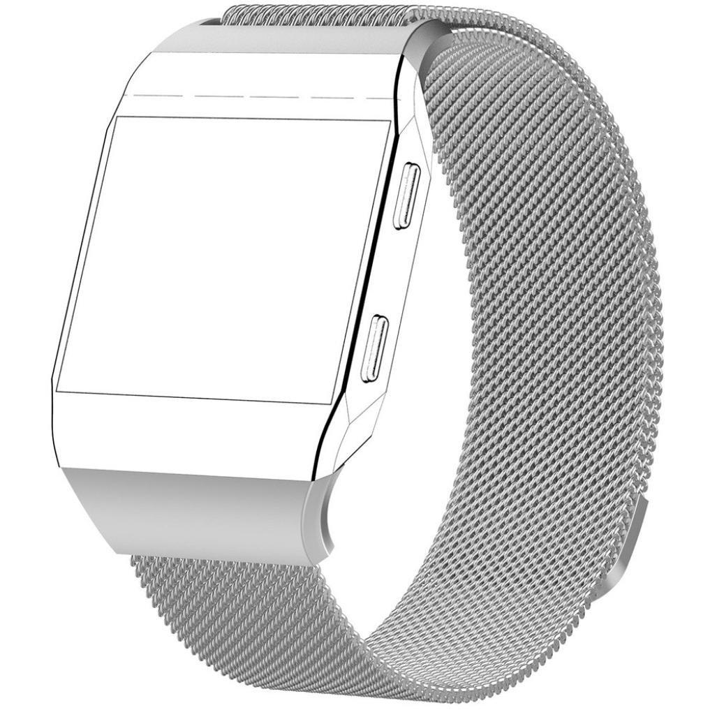 For Fitbit Ionic、Binmer (TM) 磁気ロックMilanese Loopステンレススチール交換用ストラップ 218mm シルバー シルバー シルバー B076QBXGRW
