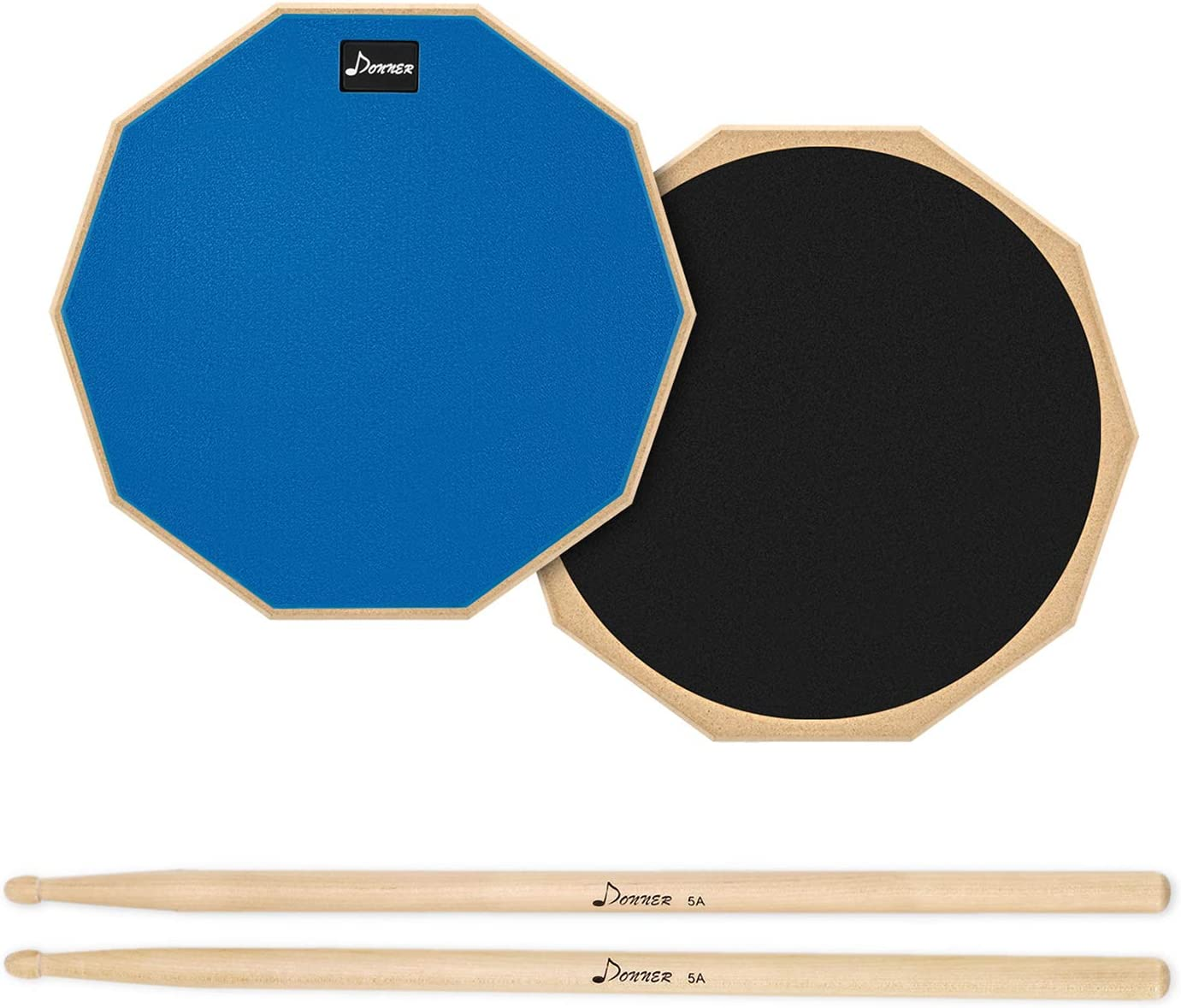 Donner 12 Inches Drum Practice Pad 2-Sided Silent Drum Pad Set Blue With Drum Sticks