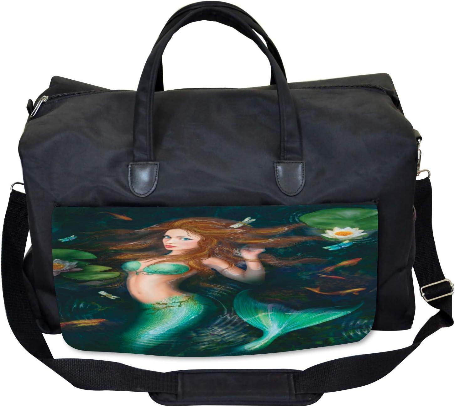 Ambesonne Fairytale Gym Bag Large Weekender Carry-on Mermaid Lake Lilies