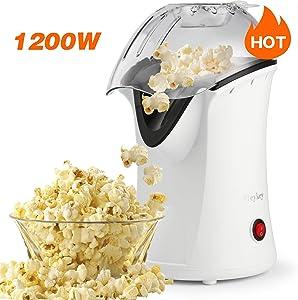 Popcorn Popper Hot Air Popper 1200W Popcorn Maker No Oil For Healthy Snacks