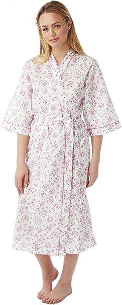Plus size Mid Sleeve Floral Cotton Wrap Robe Dressing Gown 10////30 KIMONO