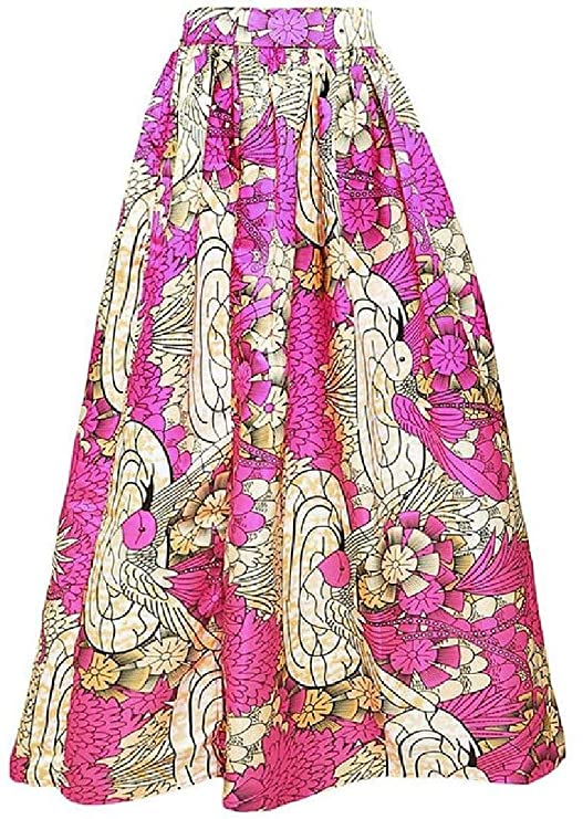26519f39af Alion Dashiki Side Split Skirt Women's African Printed High Waist Pleated  Maxi Skirt at Amazon Women's Clothing store: