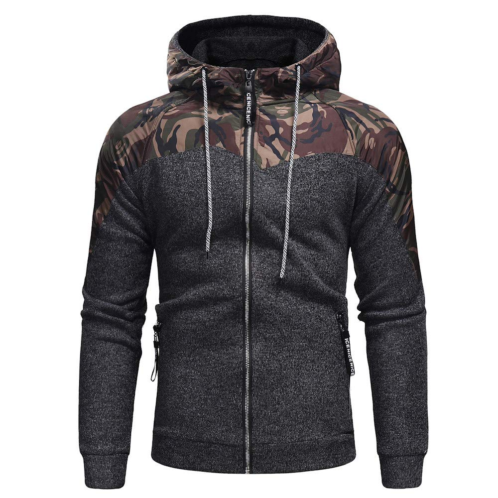 Men's Autumn Sweatshirt,Casual Camouflage Long Sleeve Zip up Hoodie Sweatshirt Pullover Top Outwear Coat by BingYELH Fashion Men Hoodies (Image #1)