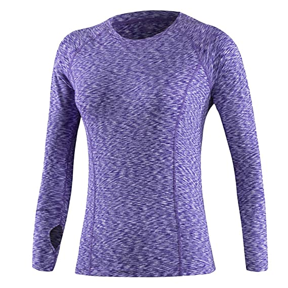 793d623d QN Women Long Sleeve Sports T-Shirts,Full Sleeve Athletic Fit Tops for Women ,Running Training Fitness for Ladies Quick-Drying Elasticity Gym Joggers T-  ...