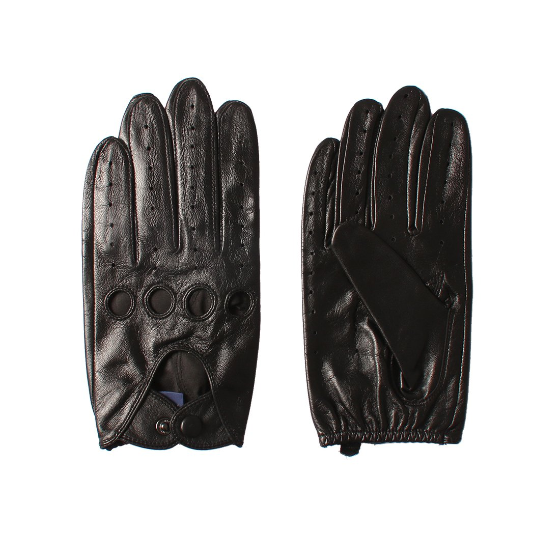 Nappaglo Men's Driving Leather Gloves Classic Lambskin Full-finger Open Back Unlined Gloves for Riding Cycling Motorcycle (S (Palm Girth:up to 8''), Black (Touchscreen))