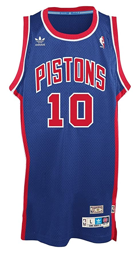 adidas Dennis Rodman Detroit Pistons NBA Throw Back Swingman Jersey Camiseta – Blue, Small