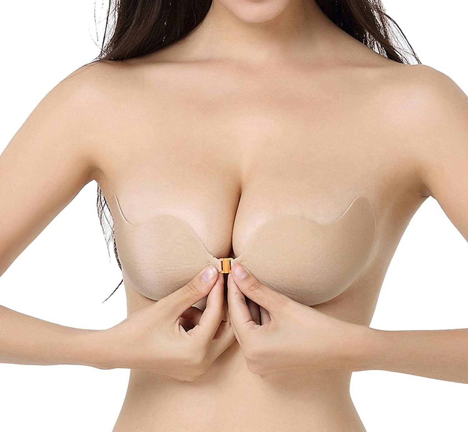 MITALOO Push up Strapless Self Adhesive Plunge Bra Invisible Backless Sticky Bras with Buckle (CUPB, Nude)