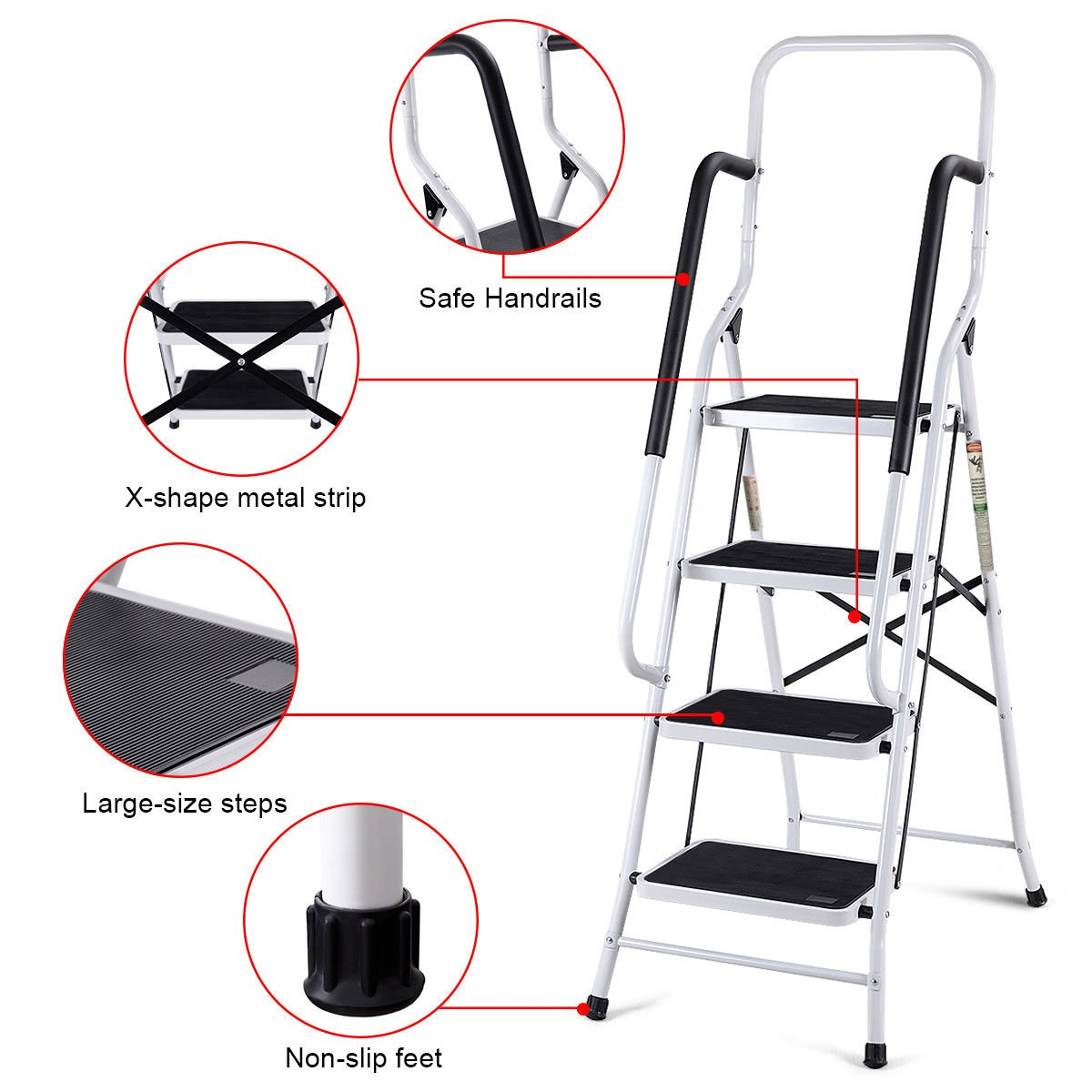 Giantex 2 in 1 Non-Slip Step Ladder Folding Stool w/Handrails and Tool Pouch Caddy (4 Step Ladder) by Giantex (Image #5)