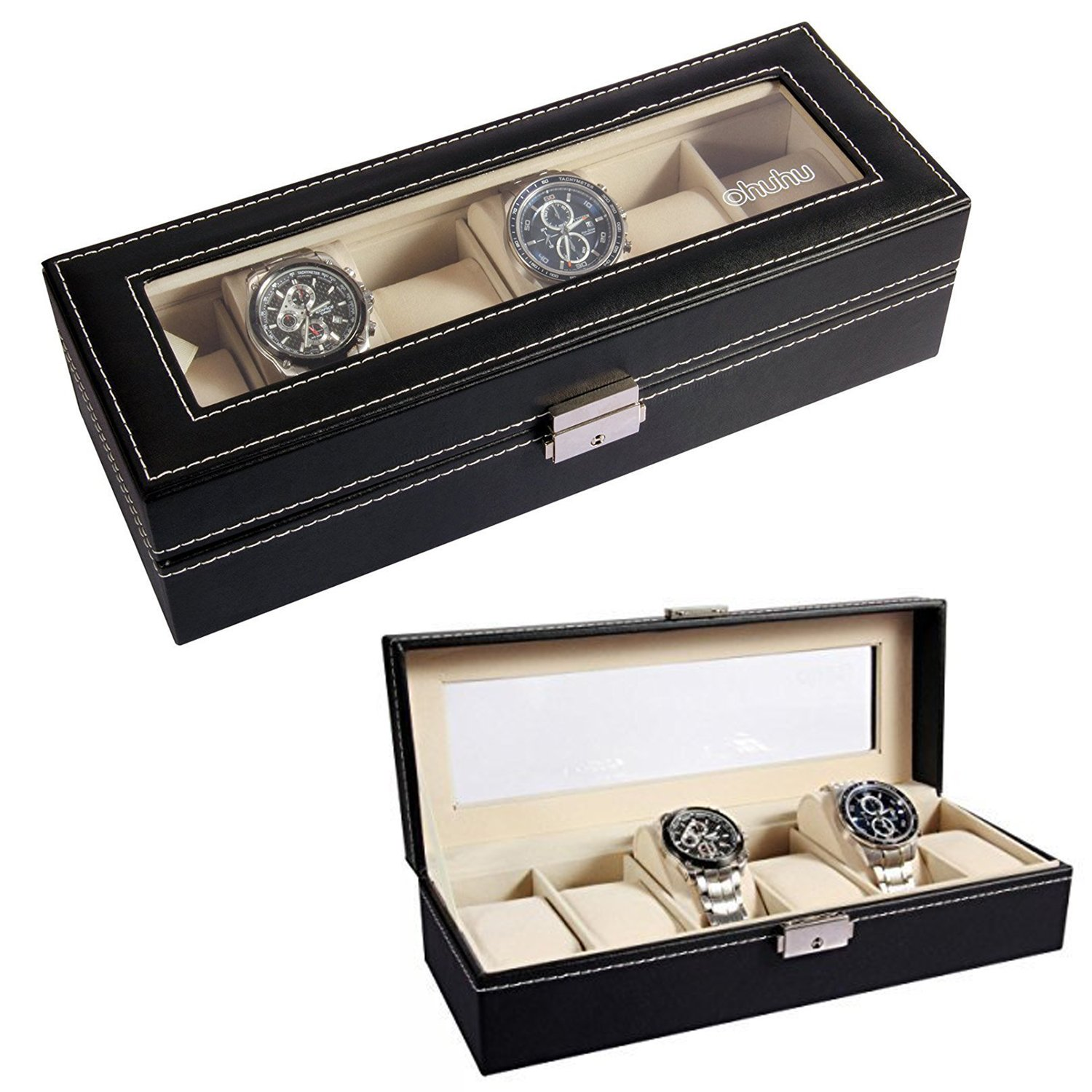 Amazon Ohuhu 6 Slot PU Leather Watch Box with Metal Lock