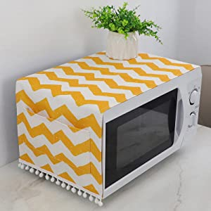 Anti-Slip Microwave Dustproof Cover Microwave Oven Top Cover Decorative Kitchen Toaster Oven Cover with Storage Bags 11.8×36.6Inches.(Yellow)