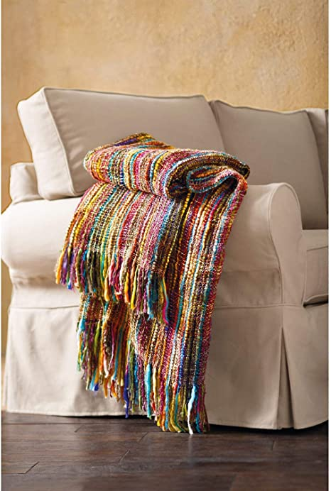 Vintage Yellow and White Crocheted Decorative Bed Throw Afghan Acrylic Blanket with Fringe Tassels