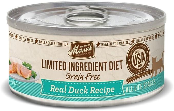 merrick limited ingredient diet grain-free duck recipe wet