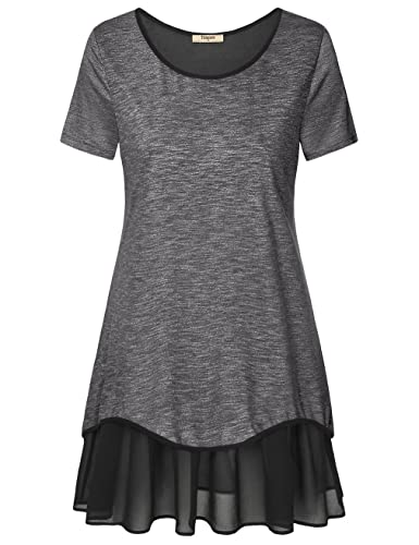 Timeson Women's Short Sleeve Pleated Chiffon Hem Loose T-Shirt Tunic Dress
