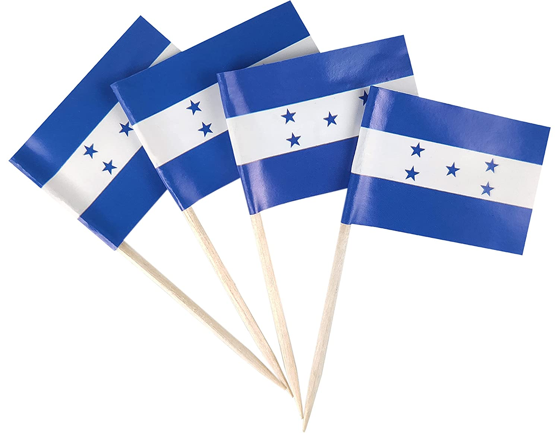 JBCD 200 Pcs Honduras Flag Toothpicks Cupcake Toppers Decorations, Cocktail Toothpick Flag Honduran Cake Topper Picks Mini Small Flag Cupcake Pick Sticks