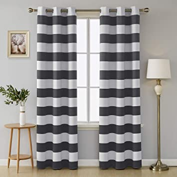 Amazoncom Deconovo Grey Blackout Curtains Striped Pattern Curtains