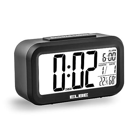 """Elbe RD-668 - Reloj Despertador de Viaje, Pantalla de 4.4"""", Temperatura"""