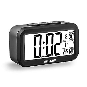 Elbe RD668N - Reloj Despertador de Viaje Gran Pantalla LCD de 4.4