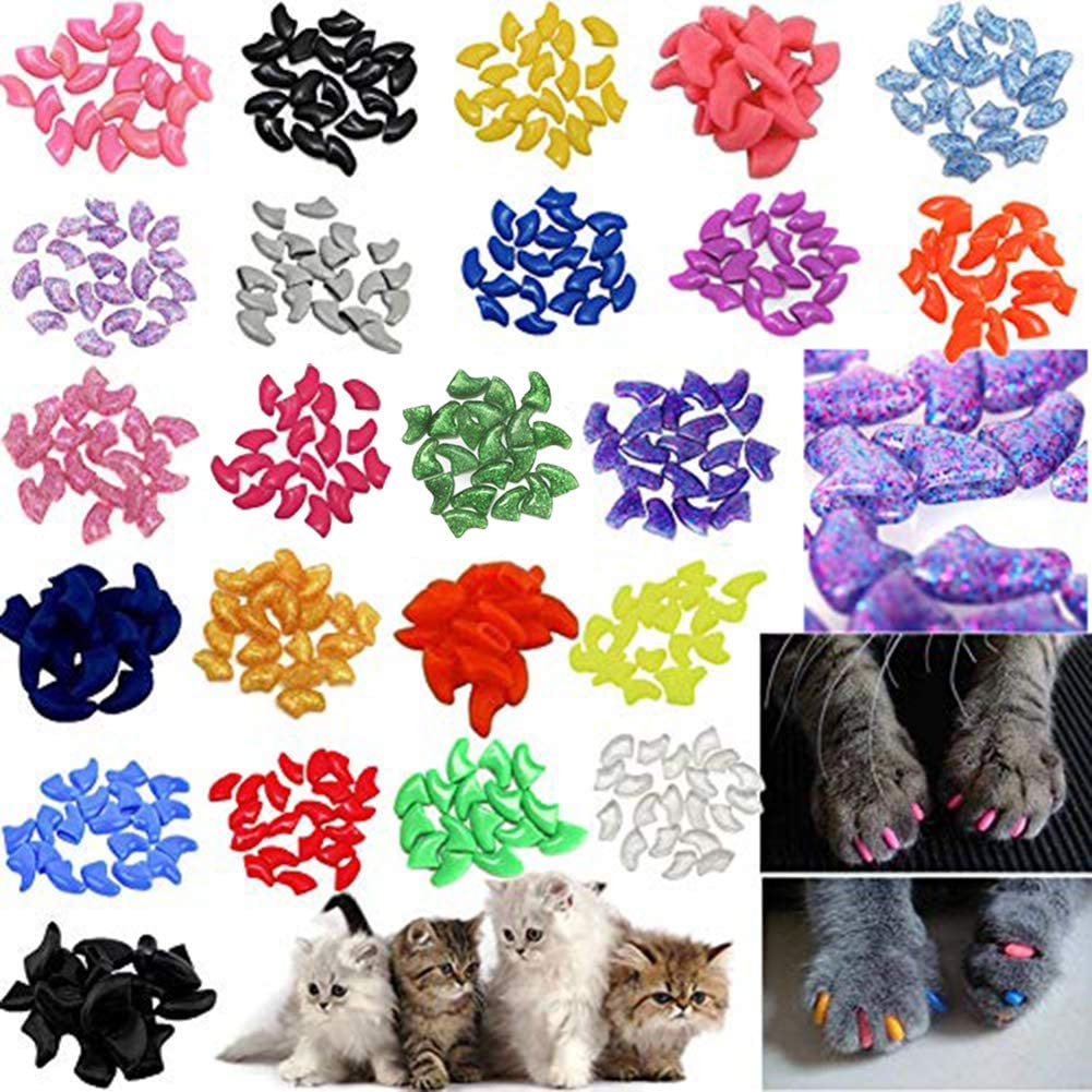 JOYJULY 140pcs Pet Cat Kitty Soft Claws Caps Control Soft Paws of 4 Glitter Colors, 10 Colorful Cat Nails Caps Covers + 7 Adhesive Glue+7 Applicator with Instruction