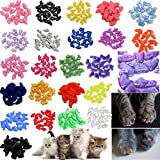 JOYJULY 140pcs Pet Cat Kitty Soft Claws Caps Control Soft Paws of 4 Glitter Colors 10 Colorful Cat Nails Caps Covers + 7 Adhesive Glue+7 Applicator with Instruction Medium M