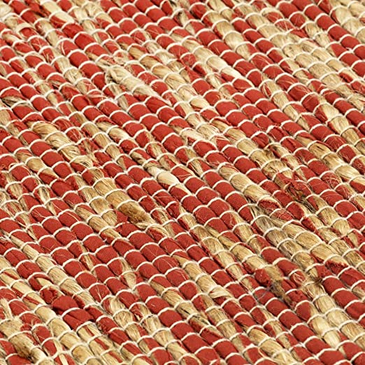 Festnight Alfombra de Yute Rectangular 120 x 180 cm Rojo y Natural Alfombra Tejida a Mano de Yute Trenzado y Algodón: Amazon.es: Hogar
