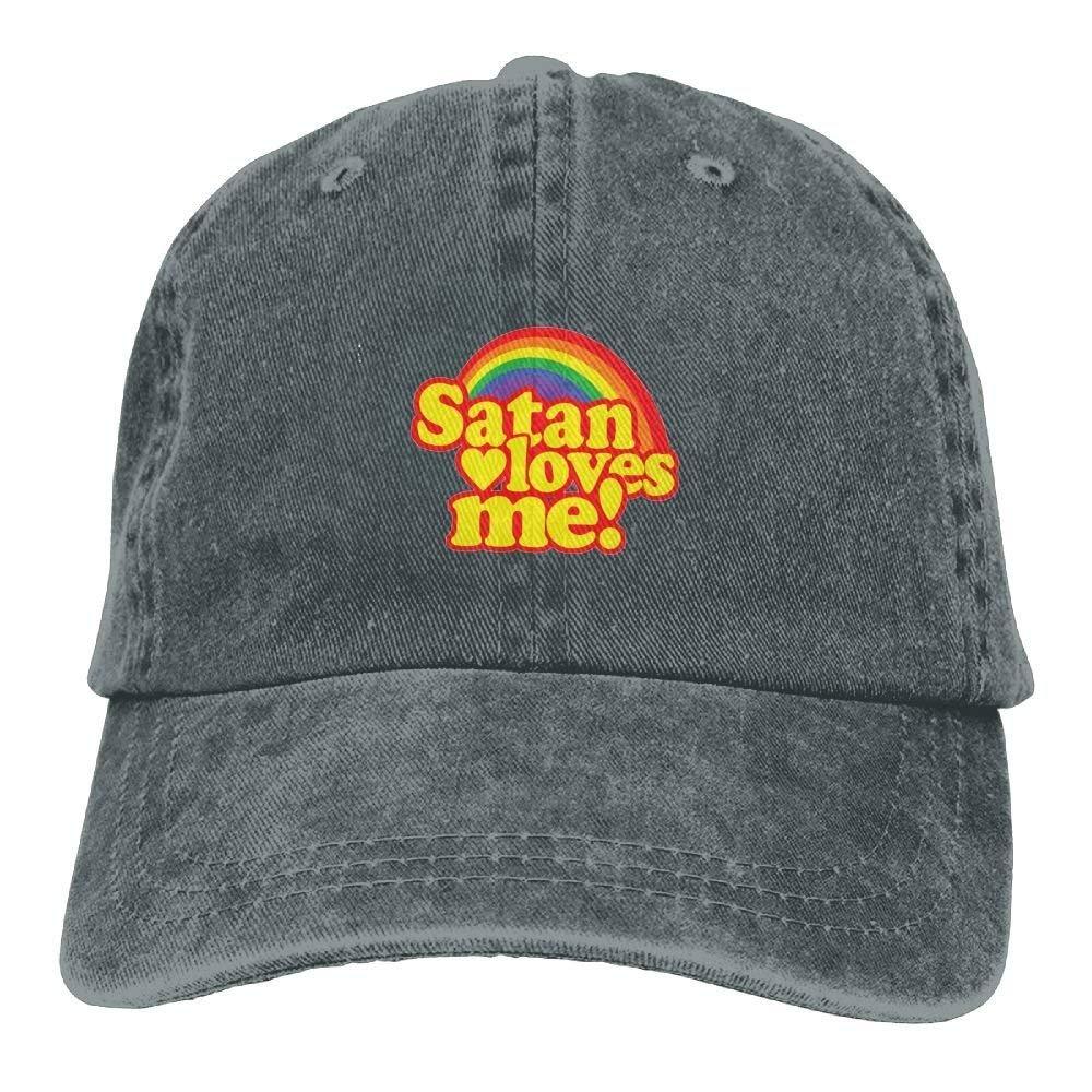 Satan Loves Me Plain Adjustable Cowboy Cap Denim Hat