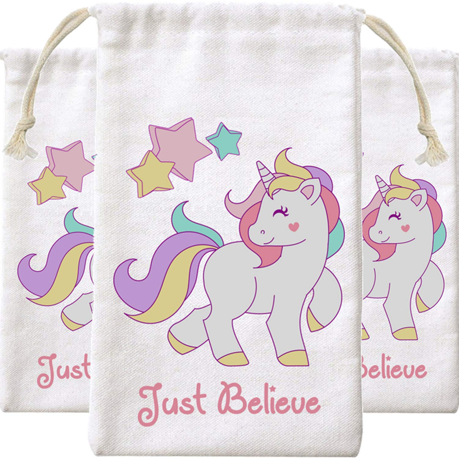 In Words Unicorn Party Favor Gift Bags - Cotton Goodie Drawstring Loot Treat Bags for Girls, Kids Birthday Favors Decoration Supplies (10 Pack)