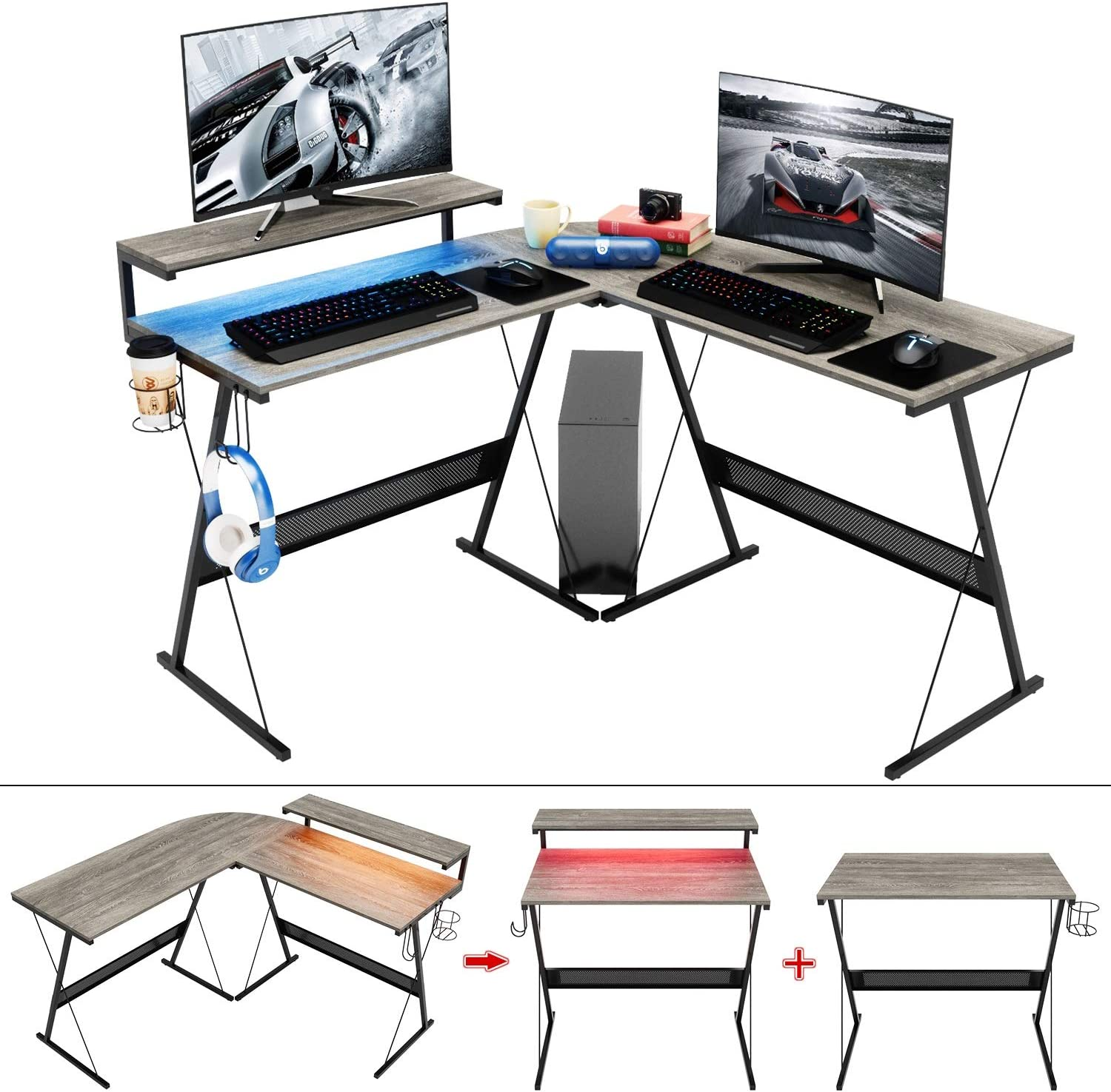 Domy Home L Shaped Computer Desk with Corner Deskth Large Monitor Stand,PC Table Workstatio,Large Modern Gaming Desk RGB LED Lights Home Office Desk Win Space-Saving, Easy to Assemble Grey Oak