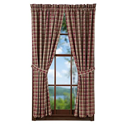 VHC Brands Rustic U0026 Lodge Kitchen Window Curtains   Everson Red Scalloped  Lined Short Curtain Panel