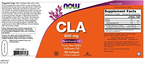 NOW Supplements, CLA Conjugated Linoleic Acid 800 mg, Nutritional Oil, 180 Softgels