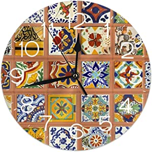 FEAIYEA Wall Clock Talavera Mexican Tiles Decorative Wall Clock Silent Non Ticking - 9.8Inch Round Easy to Read Decorative for Home/Office/School Clock