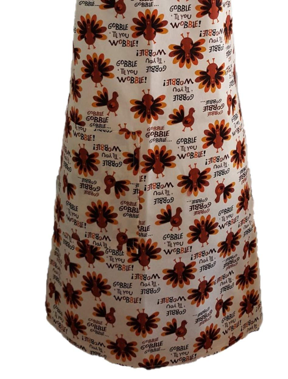 Gobble till you Wobble Thanksgiving Kitchen Apron with Pocket Adult Washable reusable 100/% Cotton look Cute in your everyday cover up Cook Bake Paint Garden