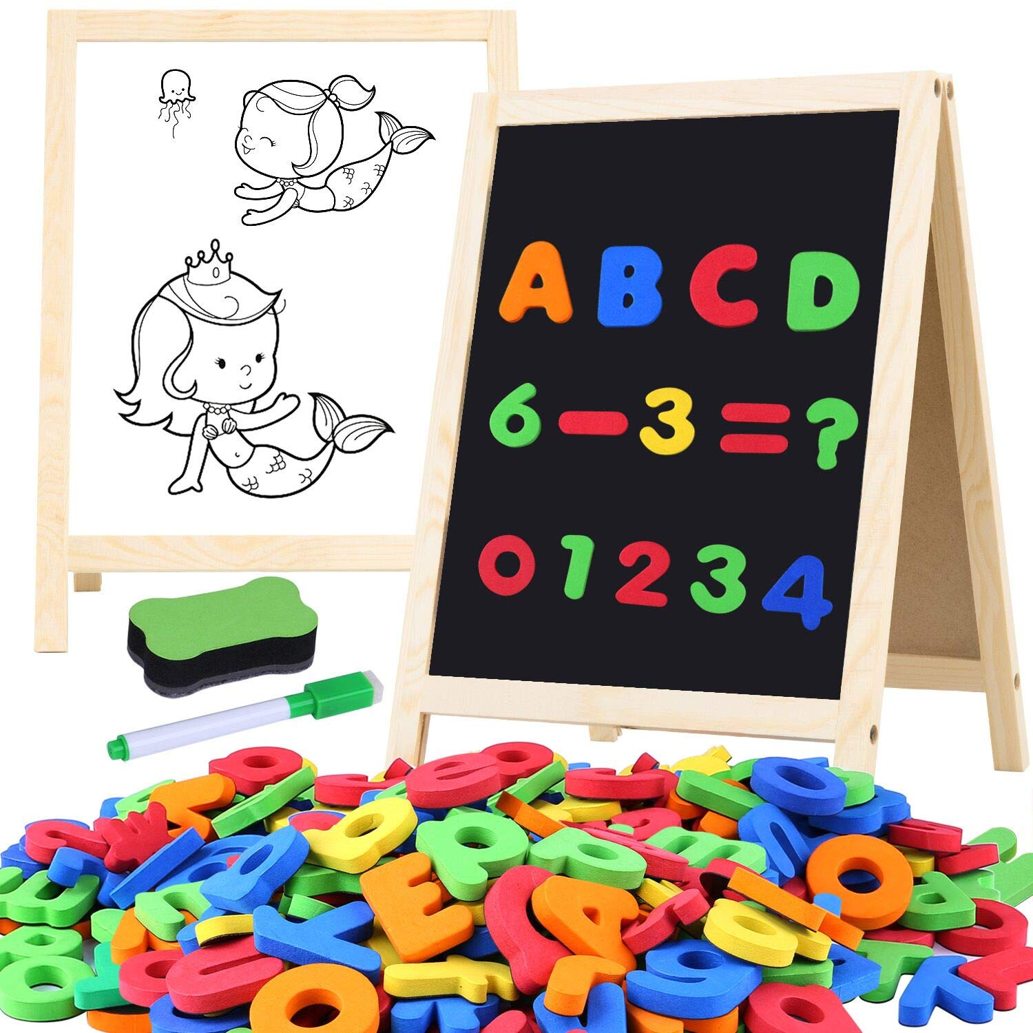 GINMIC Magnetic Letters and Numbers with Easel for Kids/Toddlers, Magnetic Whiteboard & Chalkboard w/Dry Erase Markers, ABC Megnets Alphabet Letters Learning Set, Classroom Home Education Toys by GINMIC