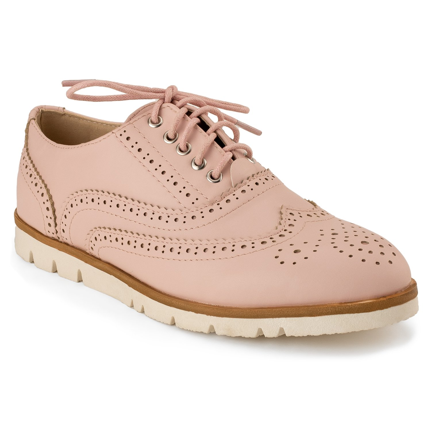 RF ROOM OF FASHION Women's Wing Tip Saddle Lace up Platform Oxford Flats - Trendy Flatform Shoes Pink (8.5)