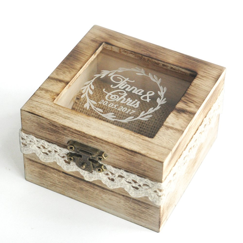 Personalized Wedding Ring Box, Rustic Wedding Ring Box, Wodden Ring Bearer Box.Gift for Wedding ZXB JEWELRY