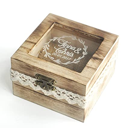 amazon com personalized wooden wedding ring box rustic wedding ring