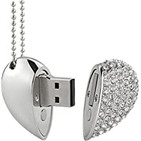 WooTeck 16GB Crystal Loving Heart Shape Jewelry USB Flash Drive Memory Stick with Necklace,Silver