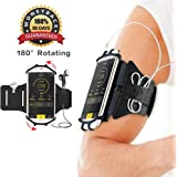 """Yimaler Running Armband for iPhone X/8/8 Plus/7 Plus/6S/6/5S/SE Samsung S7 S6 edge (4"""" to 6"""") 180° Rotatable with Adjustable Band Great for Exercise and Fitness Black"""