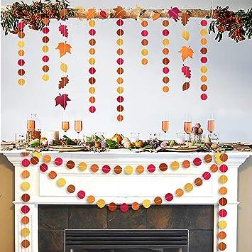 Amazon.com: Guirnaldas de papel con diseño de hojas de otoño ...