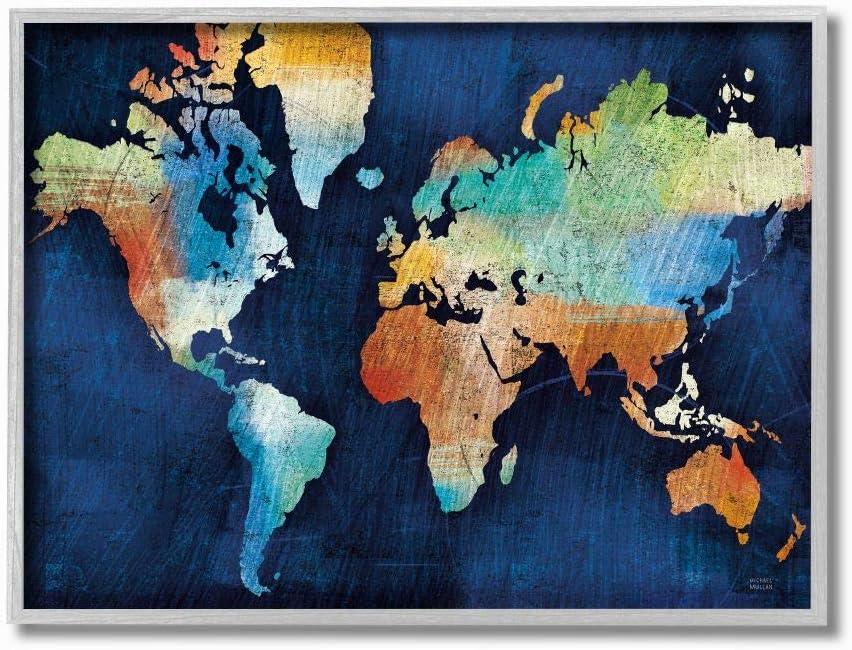 Stupell Industries World Map Modern Rainbow Textured, Design by Michael Mullen Wall Art, 16 x 20, Grey Framed