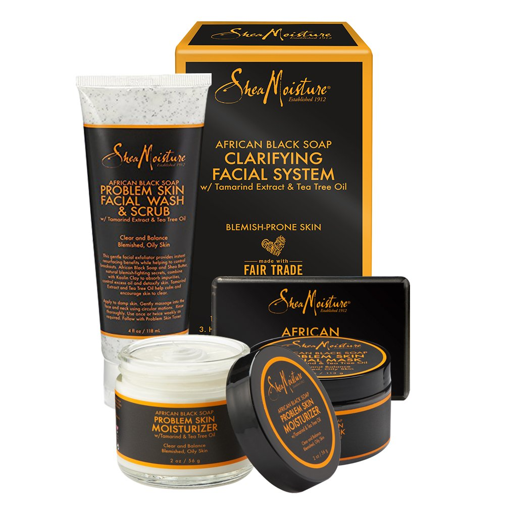 SheaMoisture African Black Soap Facial System Kit |4oz. Facial Wash & Scrub |4 oz. Problem Skin Facial Mask | 2oz. Moisturizer | 3.5oz Bar Soap : Beauty