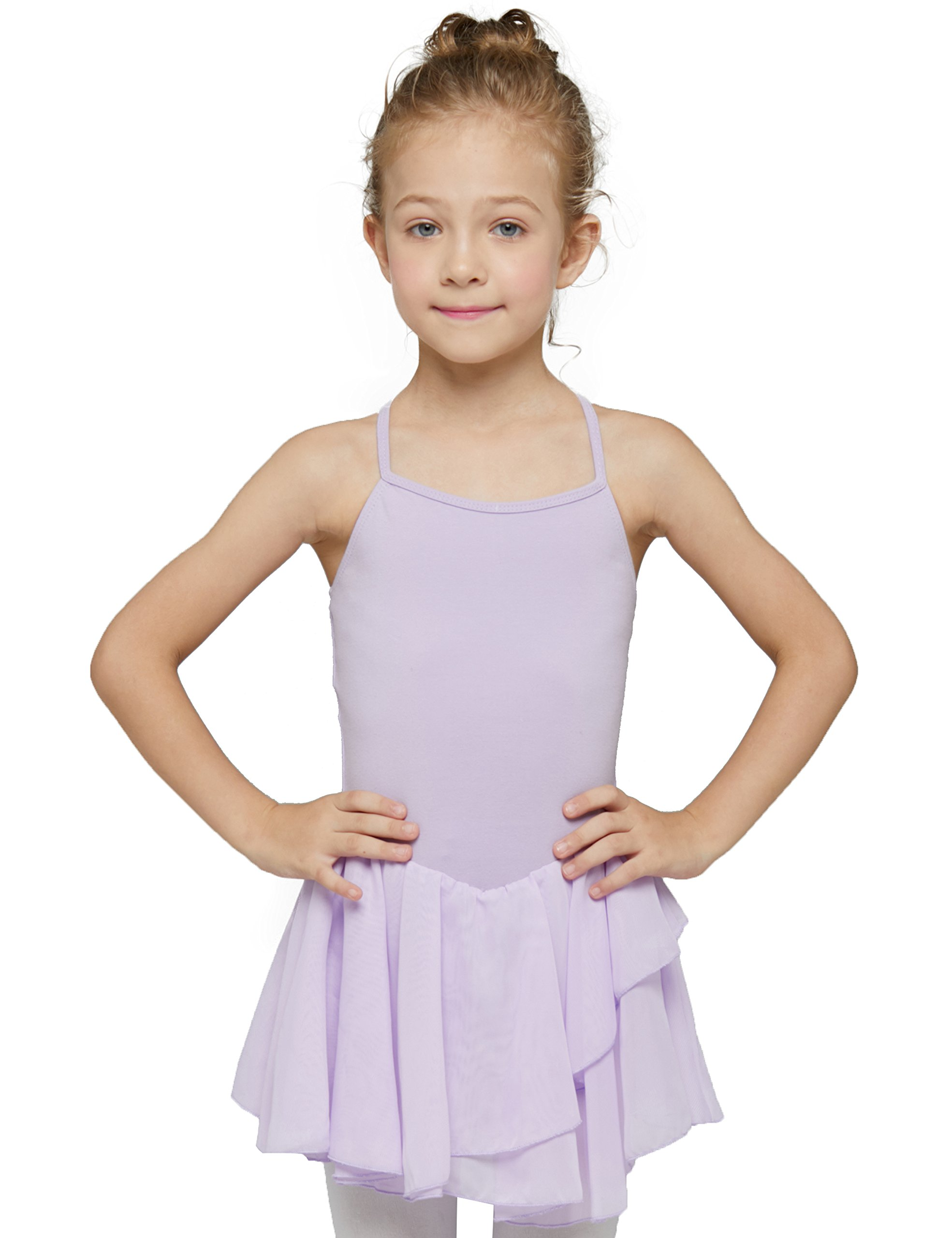MdnMd Camisole Skirted Leotard for Girls by (Tag 120) Age 4-6, Lilac Purple