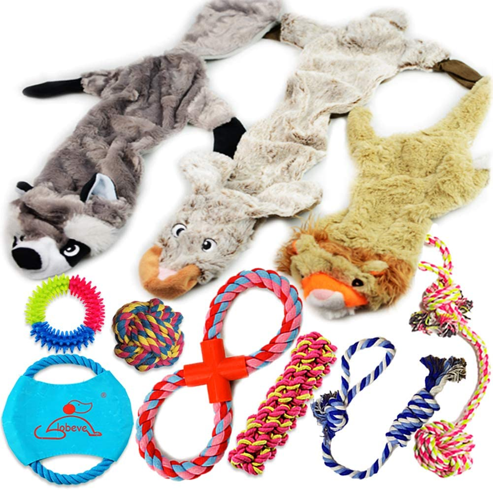 Lobeve Dog Toys Gift Set,Variety No Stuffing Squeaky Plush Dog Toy and Cotton Rope Puppy Toy Bundle for Medium to Small Doggie